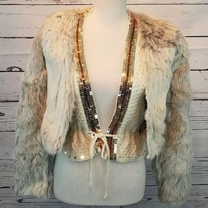 REAL rabbit fur coat with knit sequined sweater
